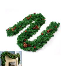 thick garland with mixed pine cones berries rattan home
