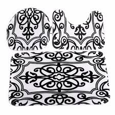 Kilim Bath Mat Toilet Mat Seat Cover Bathroom Non Slip Contour Rug Set 3pcs Black