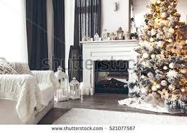 beautiful decorated room tree stock photo