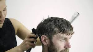 female haircutting videos clipper female barber shaping mens haircut with clipper in the barbershop