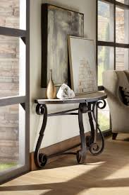 hooker furniture living room luckenbach metal and stone demilune