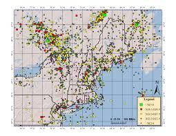 Northeast Map Northeast Earthquake Catalogs Weston Observatory Boston College