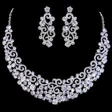 wedding jewelry diamond earrings and diamond necklace for women constitute bridal