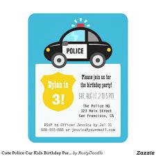 Kids Birthday Party Invitation Card Cute Police Car Kids Birthday Party Card Police Cars Birthdays