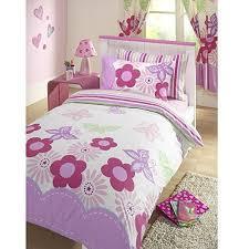 Cot Duvet Set Girls Sunny Days Floral Butterflies Reversible Pink U0026 White Junior