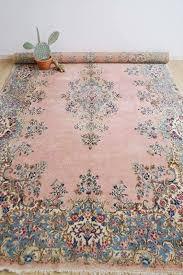 Moderne Rug Cleaning Groot Handgeknoopt Perzisch Tapijt Roze Vintage Kleed Kirman