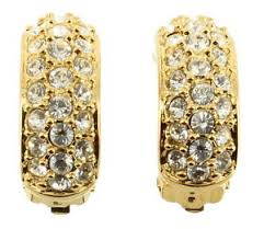 clip on earrings s vintage swarovski pave diamonte crystals hoop clip earrings w
