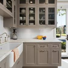 Gray Painted Kitchen Cabinets by Gray Painted Kitchen Cabinets With Ann Sacks Subway Tiles