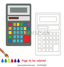 calculator coloring book educate preschool kids stock vector