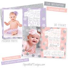 Invitation Card For 1st Birthday Girls First Birthday Invitations Photo Card 1st Birthday