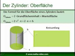 oberfläche zylinder zylinder oberfläche volumen grundfläche und mantelfläche berechnen