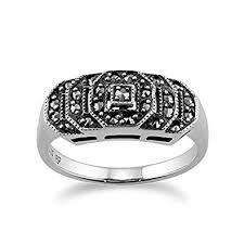 gemondo art deco stepped ring 925 sterling silver 0 28ct