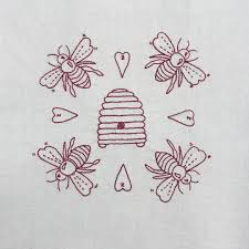 the adventures of hutch the honeybee honey bee and hive embroidery redwork embroidery stitches