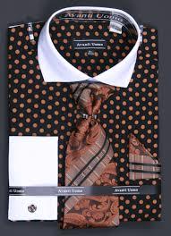 avanti uomo men u0027s cotton french cuff shirt set polka dot