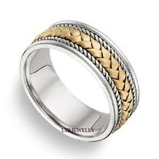 two tone wedding rings 18k two tone gold mens braided handmade wedding bands two tone
