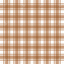 illustration of classic brown plaid tablecloth and white stock