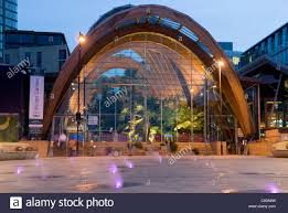 entrance to winter gardens at with colourful steam jets of