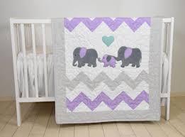 Purple Elephant Crib Bedding Elephant Family Baby Quilt Chevron Gray Purple Toddler Blanket