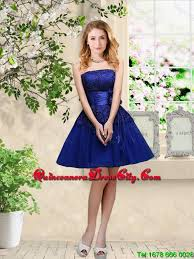 simple sweetheart royal blue dama dresses with belt 73 89