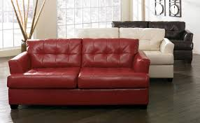 Durablend Leather Sofa Red Full Grain Leather Loves Seat With Plaid Pattern Backrest And