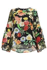 sleeve chiffon blouse chinami bell sleeve chiffon blouse black floral print poplook com