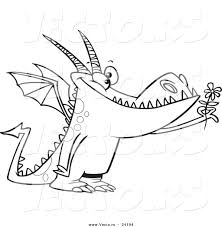 vector of a cartoon dragon holding a flower coloring page