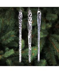6 inch clear glass icicle ornaments combo pack