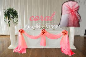 cheap coral table runners 10m 1 35m coral wedding decoration table cloth party chair orangza