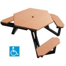 Exteriors Recycled Plastic Picnic Tables Cedar Hexagon Picnic by The Standard Ada Picnic Table Has The Traditional Step Over Design