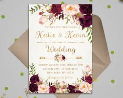 printable wedding invitations wedding invitation etsy