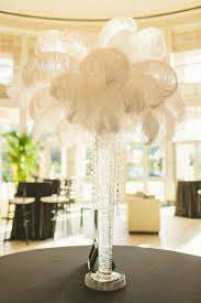 modern black and white florida wedding feather centerpieces