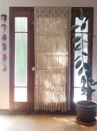 Curtains 80 Inches Wide Macrame Beaded Door Curtain Or Boho Wall Hanging Macrame