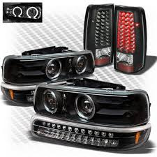 2001 silverado tail lights chevy silverado 1999 2002 black projector headlights bumper lights