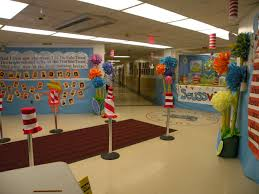 seussville decorations in lobby dr seuss and read