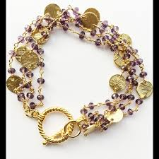 gold multi chain bracelet images Amethyst gold disk multi strand bracelet june sablan designs png