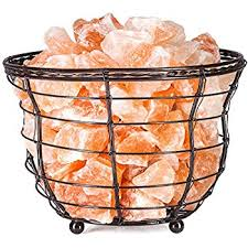 himalayan glow ionic crystal salt basket l amazon com wbm himalayan glow tall round basket salt l night