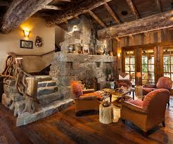 red armchairs with timber ceiling beams living room traditional