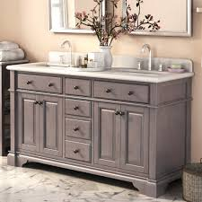chalk painted grey vanity with elegant double sink design for