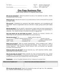 simple business plan one page template pdf example 1345 cmerge