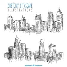 sketches of cityscapes vector free download