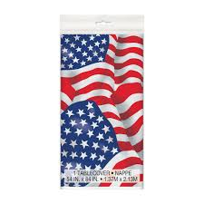 Blue Flag White X Us American Flag Plastic Tablecloth Patriotic Party Decorations