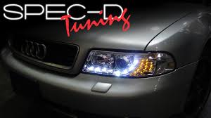 audi r8 headlights specdtuning installation video 1999 2001 a4 projector headlights