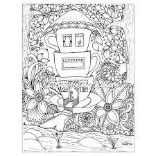 instant digital download coloring page teacup houses