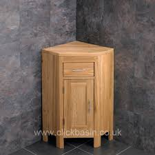 Bathroom Corner Sink Unit Alta Solid Oak Single Door Vanity Cabinet With Small Corner Basin