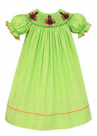 anavini baby toddler green check smocked thanksgiving