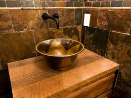 cave bathroom home design bathroom rustic vanity with wooden cabinet and copper wash bowls
