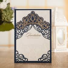 Navy Blue Wedding Invitations Wishmade Personalized Print Crown Paper Navy Blue Wedding