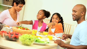 american family a healthy lunch together at