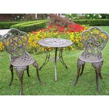 Aluminum Bistro Chairs Cast Aluminum Bistro Sets Patio Dining Furniture The Home Depot