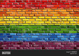 Rainbow Pride Flag Abstract Pride Flag On Brick Image U0026 Photo Bigstock